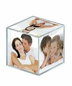 Cubo portafoto 9x9x9 cm in acrilico per 6 foto 8,5x8,5 cm - cornice idea regalo