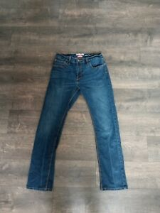 VGC Levi's Denizen 216 Skinny Fit Junior sz 14Reg Dark Wash Distressed Jean a-10