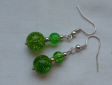 Handmade silver plated drop dangle earrings green crackle beads free stoppers