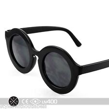 High Fashion Black Circle Round Keyhole Sunglasses Horned Rim Free Case S255