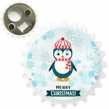 Penguin Wearing Winter Scarf /& Hat Bottle Opener Fridge Magnet