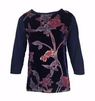 Marks and Spencer Twiggy Navy Velvet Look Cotton Top Size 8 - 22 (173)