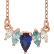 multi-gemstone & .07 CTW Diamante curvada barra Collar en 14k ORO ROSA