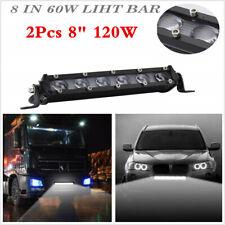 "2PCS 6D SINGLE ROW 8""INCH 120W LED SLIM WORK LIGHT BAR SPOT FOR CAR OFFROAD SUV"