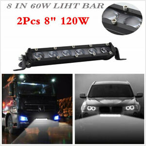"2PCS 6D SINGLE ROW 8""INCH 120W LED SLIM WORK LIGHT BAR SPOT FOR CAR OFFROAD SUV"