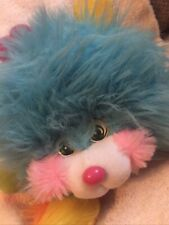 Vintage 1986 Mattel Popples Puffling Plush Stuff Toy Monster Blue  w/ Joke Tag