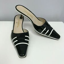 Chanel Patent Leather Shoes Mules Black Patent & White Leather Stripes Size 38 7