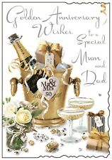 Mum And Dad 50th Golden Wedding Anniversary Card ~ Luxury Card ~ Made In UK