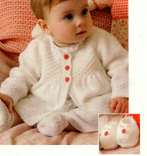 """Baby Smocked Coat Bonnet Mitts &  Shoes 4Ply 18"""" - 20"""" ~  Knitting Pattern"""