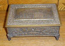 Antique Brass Or Bronze Heavy Jewelry Box