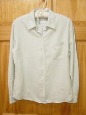 LAURA ASHLEY 100% Linen Crisp Pale Green Front Button Shirt - Women's Size 6
