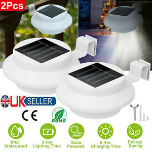 2PC LED Solar Powered Gutter Lights Outdoor Garden Yard Wall Pathway Fence Lamp