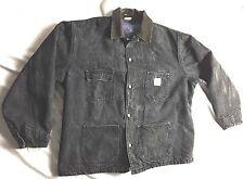 Carhartt Men's Black Cotton Denim Jean Jacket w Blanket Lining Size XL