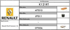 KIT TAGLIANDO 3FILTRI RENAULT CLIO III - MODUS - TWINGO II   MOTORE BENZINA 1.2