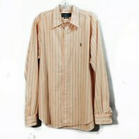 Ralph Lauren Orange Stripe Button Down Shirt Long Sleeve Collared Mens Sz Large