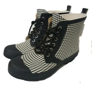 Henry Ferrera Rain Boots Combat Houndstooth Womens Size 8 Black White Lace