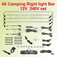 4X Rigid Bar12V 240V Linkable 50cm LED Camping Kit bag RV Camper Strip Light