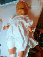 Vintage  SayCo Baby Doll  Rubber sleepy blue eyes SQUEAKS VINTAGE 1950s. DT3