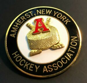 Vintage Amherst, New York Hockey Association Pin Enamel Raised Logo Emblem NY