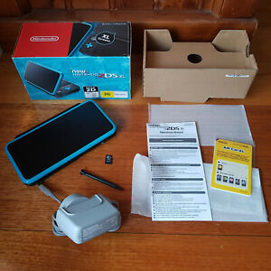 New Nintendo 2DS XL Black + Turquoise boxed, insert, charger & manual - Aust Rel