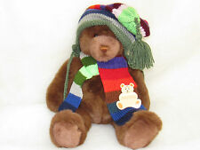 2000 Large Gund Lord & Taylor Christmas Winter Brown Teddy Bear Hat Scarf 20""