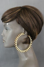 Women Fashion Earrings Set Big Urban Hip Hop Gold Metal Circle Round Large Retro