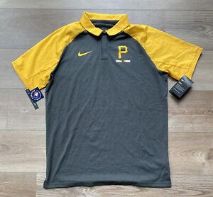 Mens Size Medium Nike Pittsburgh Pirates Polo Shirt Gray/Yellow MLB