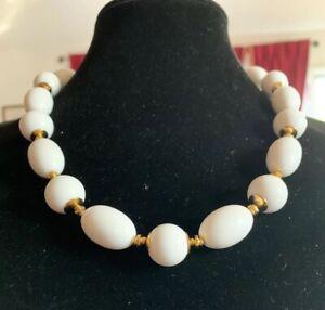 "Authentic Vintage MONET Gold Tone Spacers & White Plastic Bead Necklace ~22"""