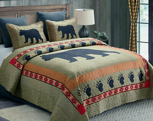 CABIN BLACK BEAR PAW QUILT BED SET/CURTAINS/RUG GREEN BROWN PLAID COUNTRY CHECK