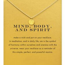 Vintage Style Gold Mind Body Spirit Sacred Om Wish Necklace