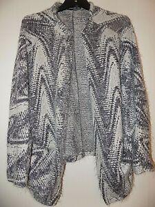 Size M Kimono Style Cardigan, Black Grey And White Patterned Atmosphere Unworn