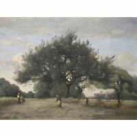 Corot Apple Trees In A Field C1865 Painting XL Wall Art Canvas Print
