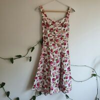 Vintage White Pink Rose Print A-line Full Sundress XS-S Cotton Made USA Pinup