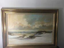 "Original Oil Painting Fran Hancock Frances M.Hancock 36"" by 24"" view of beach"