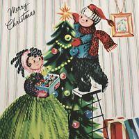 Vintage Mid Century Christmas Greeting Card Yarn Couple Decorates Tree Ornaments