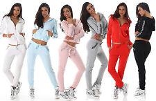 Tuta donna strass elasticizzata giacca zip pantaloni strass maniche tasche nuova
