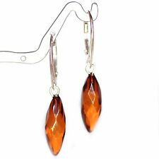 Natural Baltic Amber Earrings Light Cognc Drops Faceted Beads Sterling Silver 92