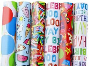 OCD Bargain Assorted Fun Birthday Gift Wrap Wrapping Paper (Pack 6,12,24)