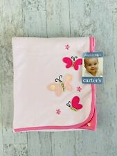 """Carter's Baby Blanket Pink Butterfly Floral Flowers 28x34"""""""
