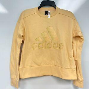 Adidas Womens Glow Orange Glam-Logo Crewneck Fleece Sweatshirt Size XXS 2XS $60