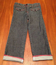 JACARDI PARIS Girls Cuffed Dark Denim Jeans Anchor Button Red Stitching 6A