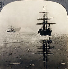 Keystone Stereoview of Two Whaling Ships in the Arctic from the 1930's T600 Set