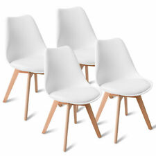 Set of 4 Mid Century Dining Side Armless Chairs DSW Modern Wood Legs White New