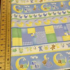 Fabri-Quilt - Sleepy Time - Blue Stripe Baby Fabric - 100% Cotton