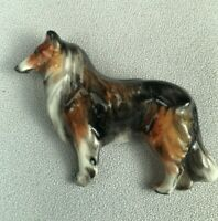 *RARE* ROYAL WORCESTER, ENGLAND, PORCELAIN COLLIE DOG JEWELRY PIN, 1932