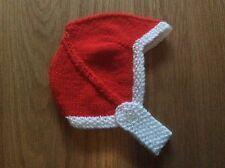 HAND Knitted Baby Cappello-Nascita a 3 mesi ROSSO e BIANCO