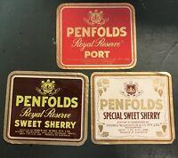 Vintage Penfolds Wine Label Royal Reserve Port Sherry Print Bottle Advertising