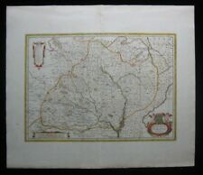 1680 Original Mercator Janssan Moses Swart Map of Moravia Czech Untrim Excellent