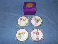 BELLA CASA 4 PIECE CERAMIC WINE COASTER SET BY GANZ IN BOX - NICE