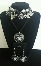 Oakland Raiders necklace, bracelet and earring set